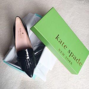 "Kate Spade NY Black Patent Leather Fringe 2"" Pumps"
